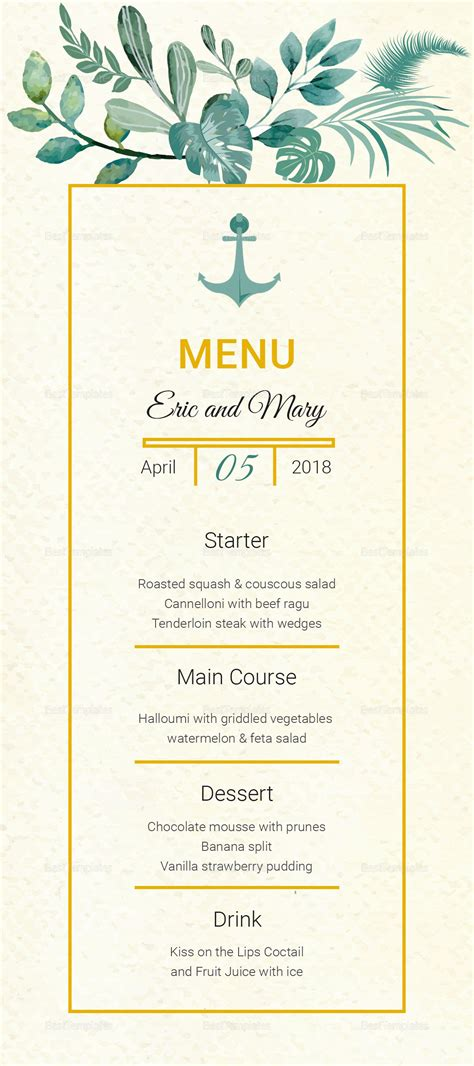 Wedding Menu Card Template by Nautical Wedding Menu Card Template In Psd Word