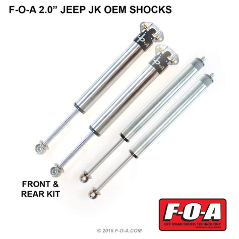 jeep shocks f o a 2 0 inch id jeep jk oem front rear shock kit f o