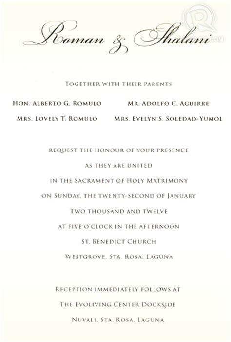 Wedding Invitation Letter To Chairman Shalani Soledad Romulo Wedding Bazics Net