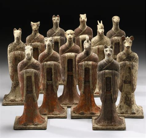 Tang Set Spirit a set of painted pottery zodiac figures shi er shengxiao tang dynasty each with human