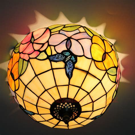 12 Inch Tiffany Stained Glass Ceiling Lights Flowers Stained Glass Ceiling Lights