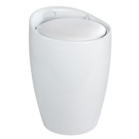 Wenko Candy Modern Laundry Bin Bath Stool White Laundry Stool