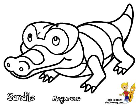 Pokemon Coloring Pages Sandile | quick pokemon black and white coloring pages drilbur
