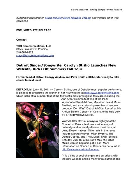 writing sle musician press release