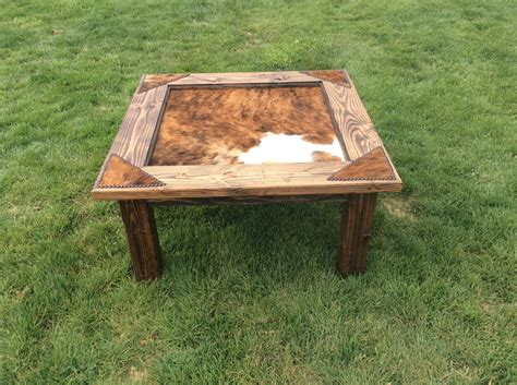 Cowhide Coffee Table Cowhide Coffee Table With Glass Top Nailheads Western