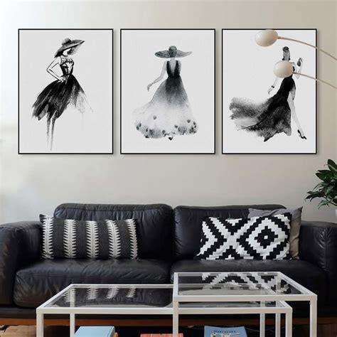 black white fashion model chinese ink painting modern