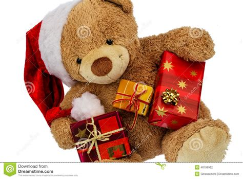 teddy bear with christmas gifts stock photo image 48199962