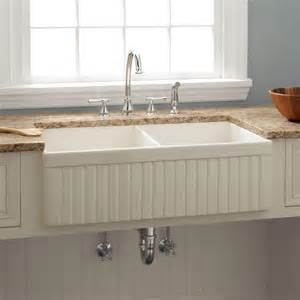 Kitchen With Farm Sink 33 Quot Baldwin Bowl Fireclay Farmhouse Sink Fluted Apron Biscuit Kitchen