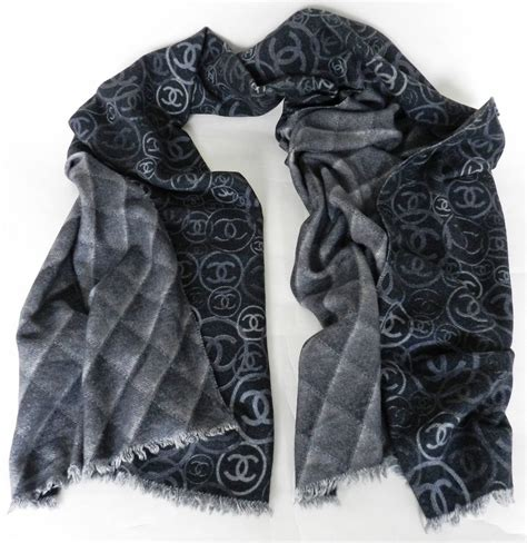 Chanel Scarf by Chanel Grey Cc Logo Scarf At 1stdibs