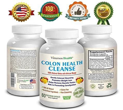 Cleanse Detox Gentle Weight Loss Supplement 60 Capsules by 100 All Colon Detox Cleanse Non Gmo Gluten Free