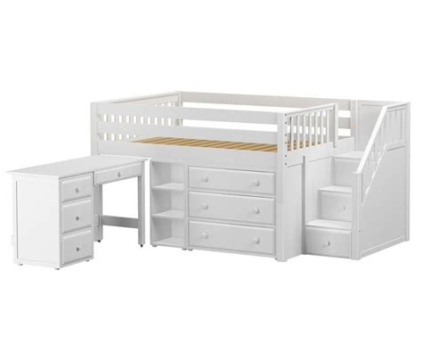 Small College Desk Perfect2l Size Low Loft Bed With Stairs Desk White By Maxtrix Furniture Wibs Room