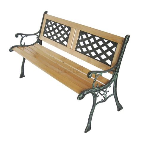 garden bench wrought iron and wood 3 seater outdoor wooden garden bench lattice slat with
