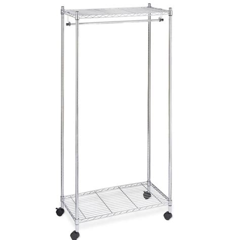 new chrome 2 tier rolling clothing garment rack shelving