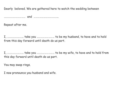 Wedding Ceremony I Do Script by Order Of Service For Acting Out A Wedding By Andy7painter