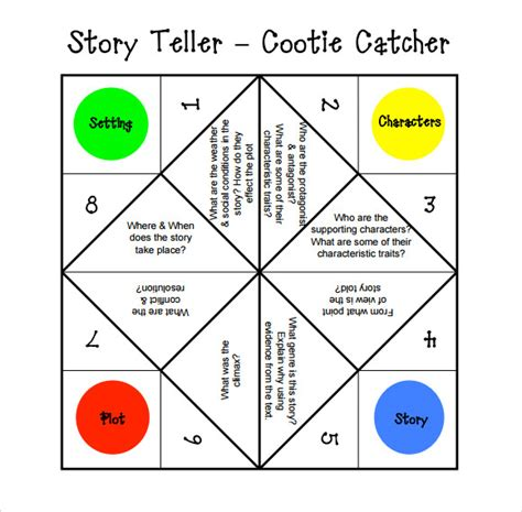 Cootie Catcher Origami - sle cootie catcher template 9 documents in