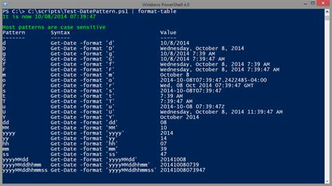 format date shell powershell dates times and formats