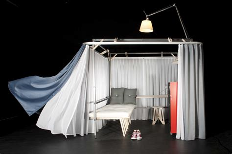 portable bedroom pop up hotel room folds out of a suitcase