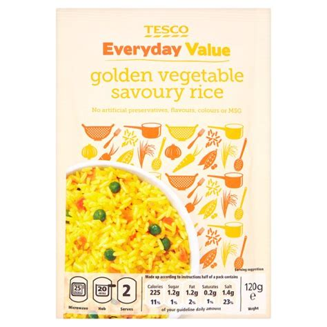 value added product from vegetable tesco everyday value golden vegetable savoury rice 120g