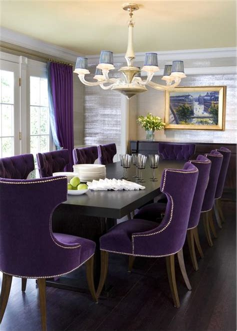 purple dining room dramatic transitional dining room by drake design associates
