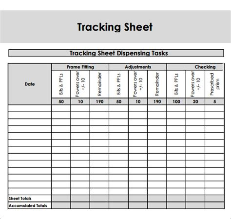 Tracking Spreadsheet by Sle Editable Tracking Sheet 8 Documents In Word Pdf
