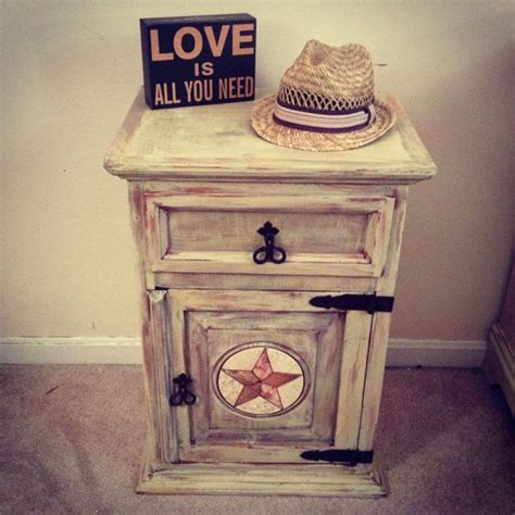 rustic distressed end table or nightstand painted