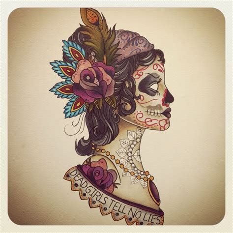 gypsy skull tattoo designs sugar skull dead tell no lies go to