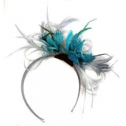 Turquoise Flower Petals - silver and teal fascinator on headband weddings ascot