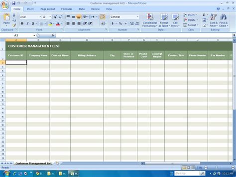customer management list template