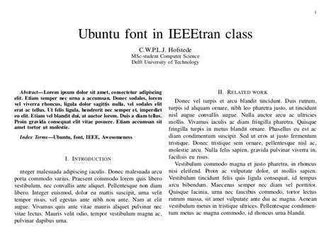 How To Make A Paper Presentation In Ieee Format - ieeetran with ubuntu font
