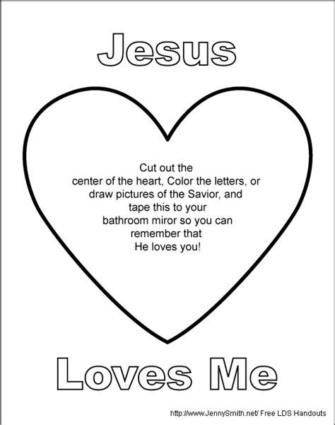 jesus loves me coloring page lds mormon share jesus loves me mirror sign