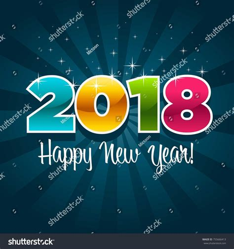happy new year 2018 greeting card stock vector happy new year 2018 greeting card stock vector 755666413