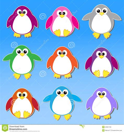 colorful penguins colorful penguins stickers royalty free stock images