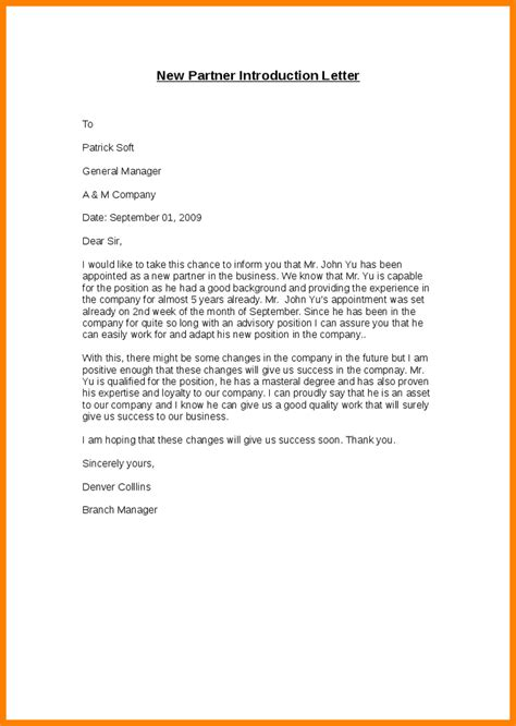 Business Letter Sle New Business 10 Introduction Mail In New Company Introduction Letter