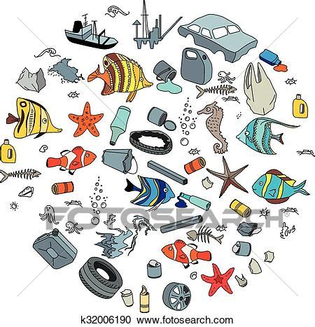 trash boat cartoon clipart of water pollution in the ocean garbage and waste