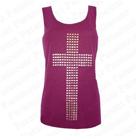 Kemeja Wanita Studs Back Detail Shirt Size M 411637 studded cross design racer back sleeveless t shirt vest