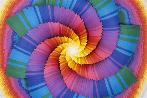What To Make With Coloured Paper - spiraling rainbow vortexes created from layered paper by