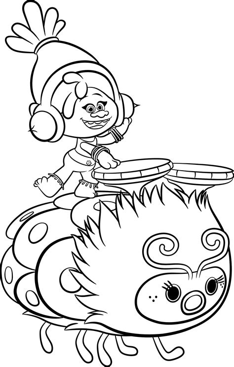 poppy troll coloring coloring pages