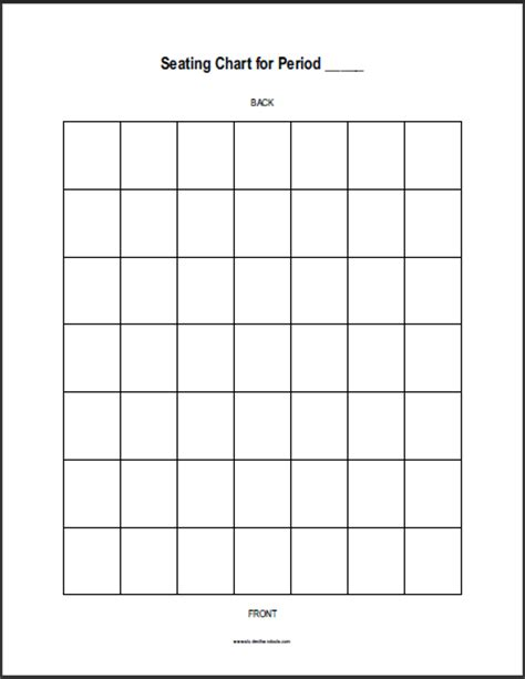 classroom seating chart template free printable vertical classroom seating chart for one class