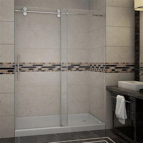 lowes shower doors sliding shop aston 60 in w x 75 in h frameless sliding shower door