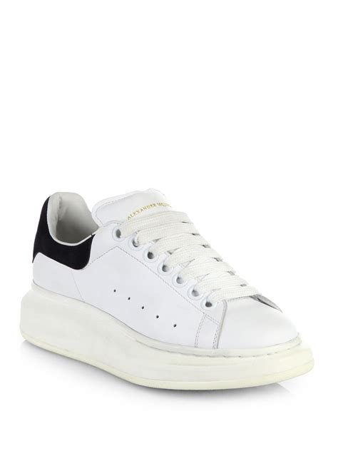 white sneakers for mcqueen leather platform sneakers in white lyst