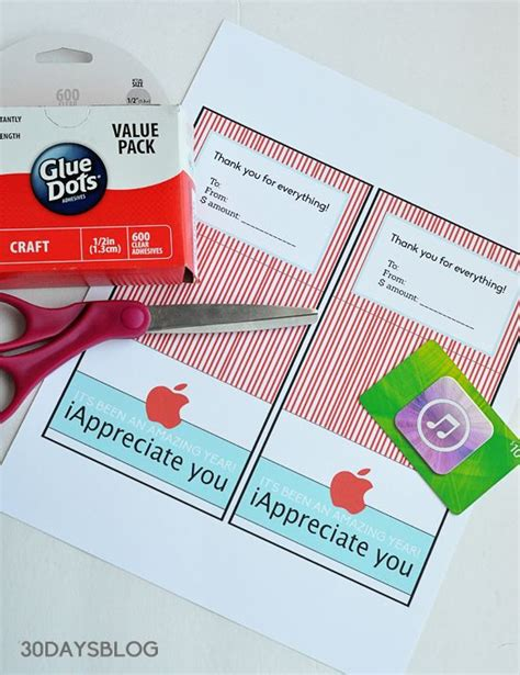 itunes gift card online printable teacher gift idea apple gift card printable template