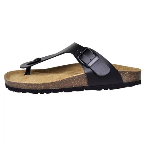 Black Unisex black unisex bio cork sandal with flip flop design size 38 vidaxl co uk