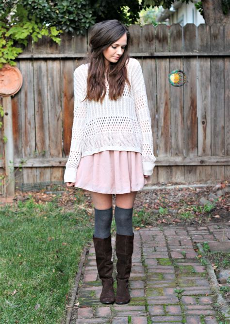 knee high socks and blush skirt did what