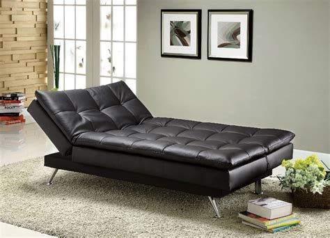 futon black hasty black leatherette adjustable sofa bed futon chaise