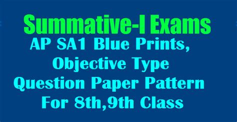 pattern of objective type questions ap sa1 blue prints objective type question paper pattern