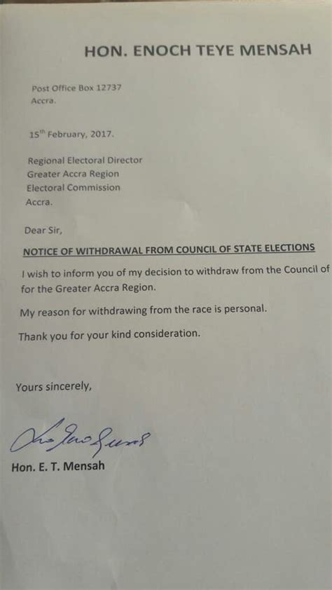 Withdrawal Letter Bidding E T Mensah Withdraws From Council Of State Race News
