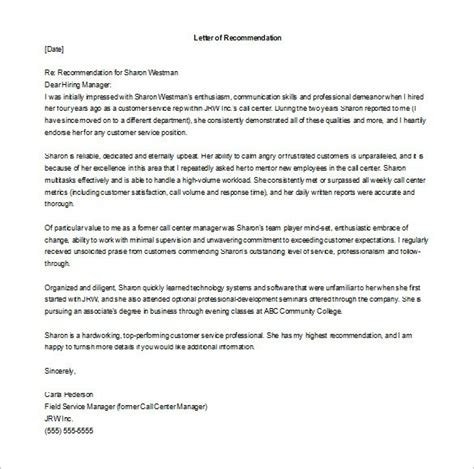 letter of recommendation for employment recommendation letter for manager from employee sle