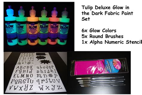 tulip 4oz deluxe glow in the fabric paint combo set