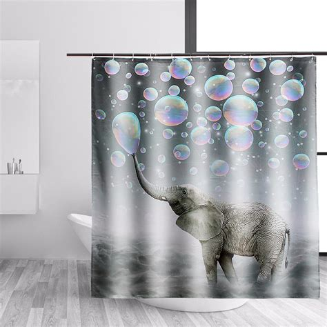 Decorated Bathrooms With Shower Curtains Elephant Fabric Waterproof Bathroom Shower Curtain Panel Sheer Bathroom Decor 12 Hooks Alex Nld