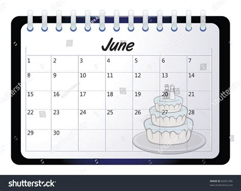 June Wedding Clipart by Vector Illustration Calendar June Stock Vector